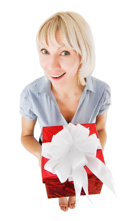 Customer Gift, Making Right Gesture | Woman with Gift Box